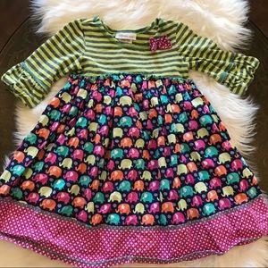 Bonnie Jean Green & Pink Elephant Dress Size 5